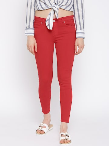 MANGO Women Red Skinny Fit Mid-Rise Clean Look Ankle-Length Jeans at myntra