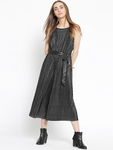 MANGO Charcoal Grey Shimmer Belted Jumpsuit at myntra