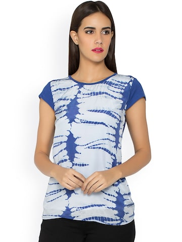 Kraus Jeans Women Blue & White Tie-Dyed Top at myntra