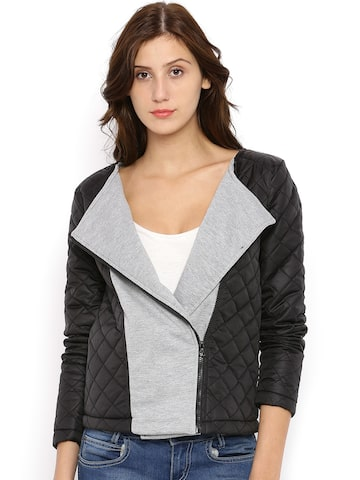 Campus Sutra Black & Grey Quilted Jacket at myntra