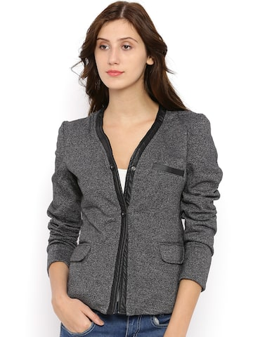Campus Sutra Charcoal Grey Tailored Jacket at myntra