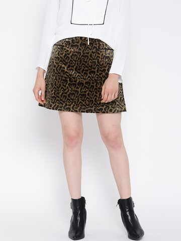 MANGO Mustard Brown & Black Leopard Print A-Line Skirt at myntra