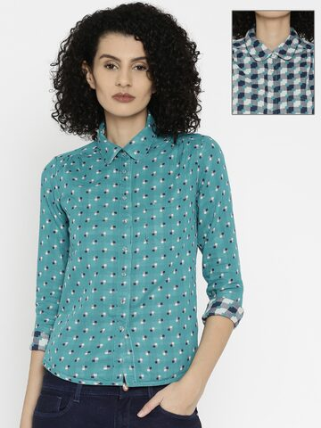 Wrangler Women Teal Blue Reversible Shirt at myntra