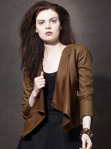 Roadster Brown Front-Open Shrug at myntra