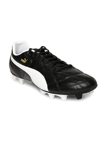 Puma Kids Black & White Classico iFG Jr Football Shoes at myntra