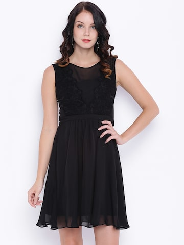 Avirate Women Black Solid Fit & Flare Dress at myntra
