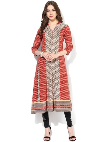AKS Red & Beige Printed Anarkali Kurta at myntra
