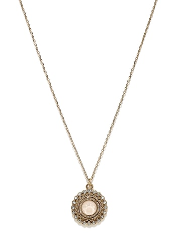 Accessorize Antique Gold-Toned & Pink Stone-Studded Circular Pendant with Chain at myntra
