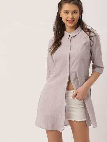DressBerry Women Maroon & White Striped Casual Shirt at myntra