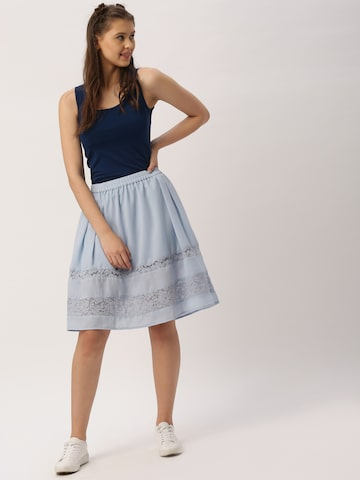 DressBerry Blue Flared Lace Skirt at myntra