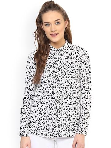 PURYS Women White & Black Standard Fit Polka Dot Print Casual Shirt at myntra