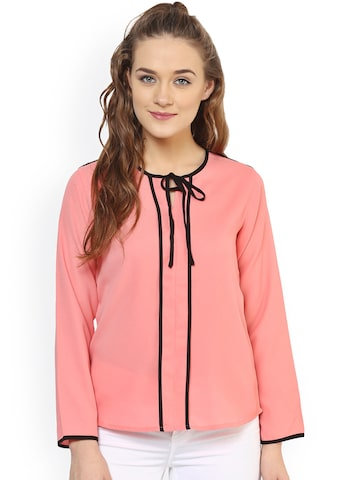 PURYS Women Pink Solid Top at myntra