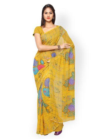 Silk Bazar Yellow Georgette Printed Saree at myntra