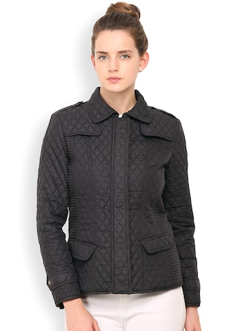 Gipsy Black Quilted Jacket at myntra