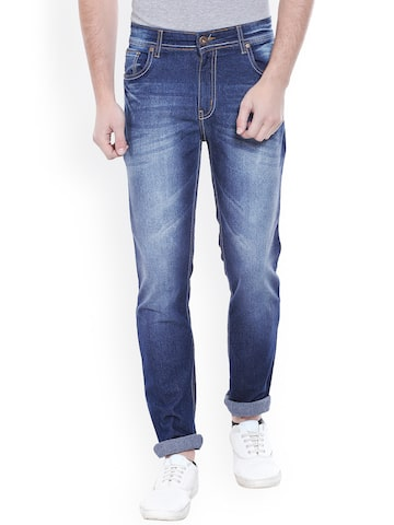 High Star Men Blue Slim Fit Mid-Rise Clean Look Jeans at myntra
