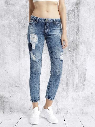 RDSTR Women Blue Slim Fit Acid Wash Mildly Distressed Jeans at myntra