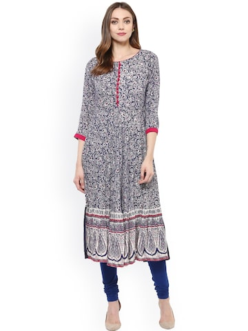 Libas Women Navy Blue Printed A-Line Kurta at myntra