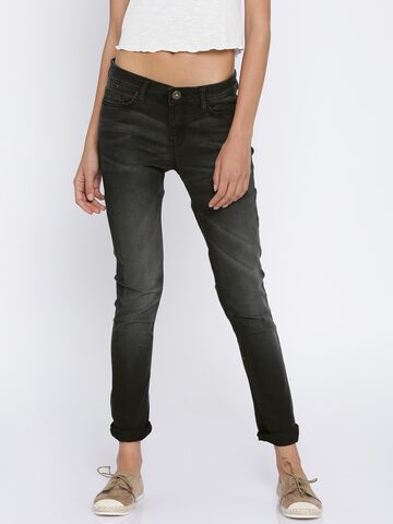 Jealous 21 Women Black Super Skinny Fit Mid-Rise Clean Look Stretchable Jeans at myntra