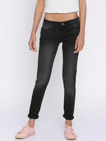 Jealous 21 Women Black Hottie Ultra Slim Fit Mid-Rise Clean Look Stretchable Jeans Jealous 21 Jeans at myntra