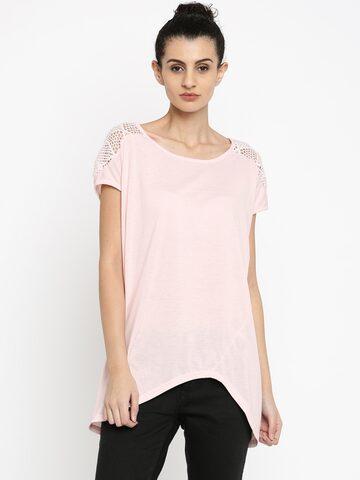 Jealous 21 Women Peach-Pink Solid Regular Top at myntra