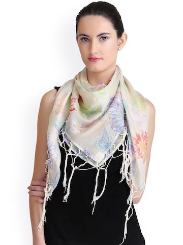 CoolThreads Multicoloured Printed Silk Scarf at myntra