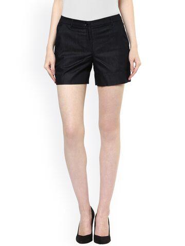 Avirate Women Black Denim Shorts at myntra