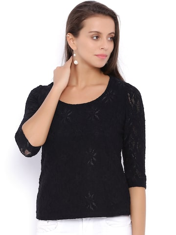 Avirate Women Black Lace Top at myntra