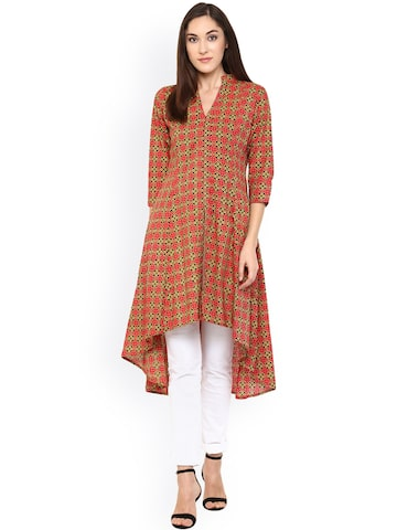 Bhama Couture Women Red Printed A-Line Kurta at myntra
