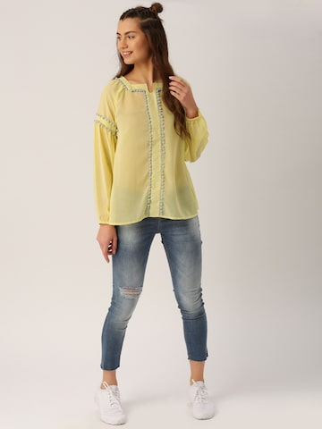 DressBerry Women Yellow Sheer Top at myntra