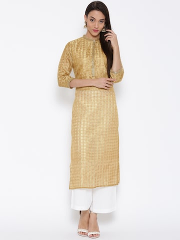 Jashn Women Beige Self-Checked Straight Kurta at myntra