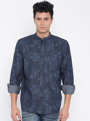 ColorPlus Men Navy Tailored Fit Printed Casual Shirt at myntra