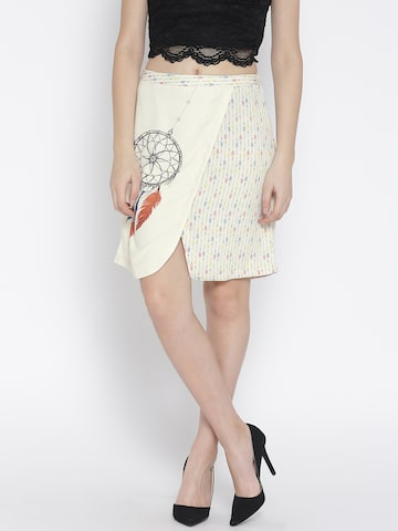 109F by Nishka Lulla Cream-Coloured Printed Panelled Skirt at myntra