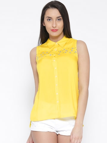 109F by Nishka Lulla Women Yellow Printed Detail Casual Shirt at myntra