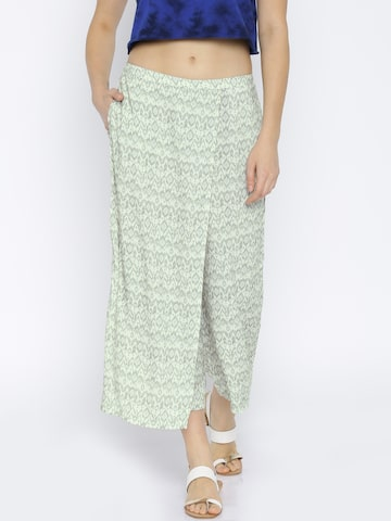 109F by Nishka Lulla Off-White Printed Trousers at myntra