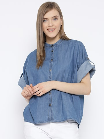 Vero Moda Women Blue Solid Boxy Denim Shirt at myntra