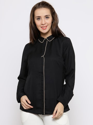 Wills Lifestyle Women Black Solid Formal Shirt Wills Lifestyle Shirts at myntra