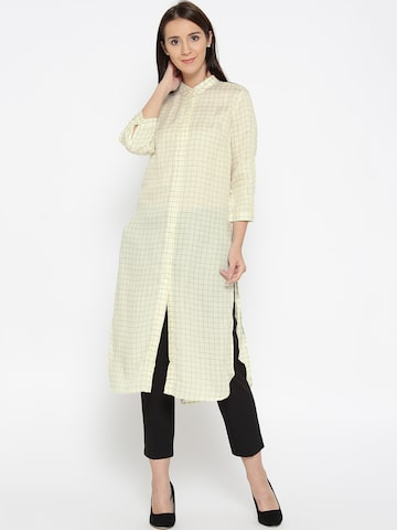 Wills Lifestyle Women Cream-Coloured & Navy Checked Semi-Sheer Longline Tunic Shirt Wills Lifestyle Shirts at myntra