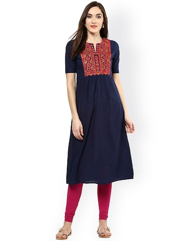 Jaipur Kurti Women Navy Embroidered A-Line Kurta at myntra