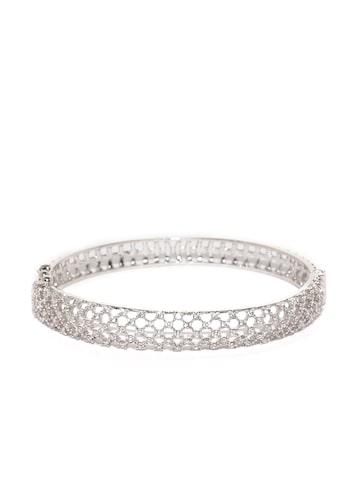 Zaveri Pearls Silver-Toned Rhodium-Plated CZ Stone-Studded Bracelet at myntra