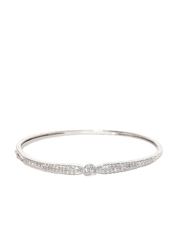 Zaveri Pearls Silver-Toned Rhodium-Plated CZ Stone-Studded Bracelet at myntra