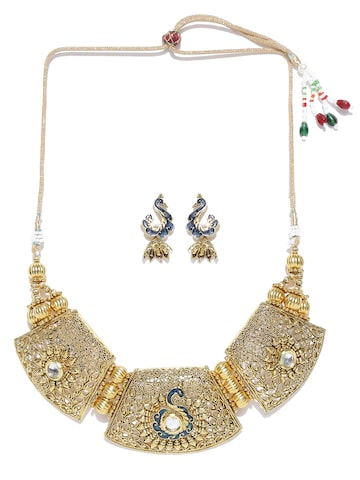 Zaveri Pearls Antique Gold-Toned Jewellery Set at myntra