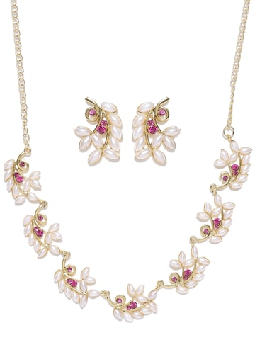 Zaveri Pearls Off-White & Gold-Toned Beaded Jewellery Set at myntra