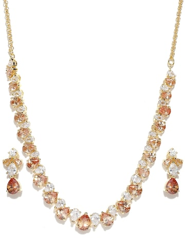 Zaveri Pearls Brown Gold-Plated CZ Stone-Studded Jewellery Set at myntra