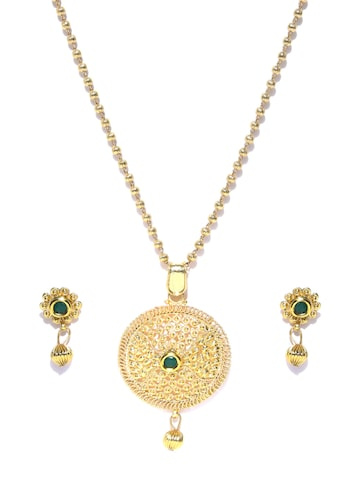 Zaveri Pearls Gold-Toned Stone-Studded Jewellery Set at myntra