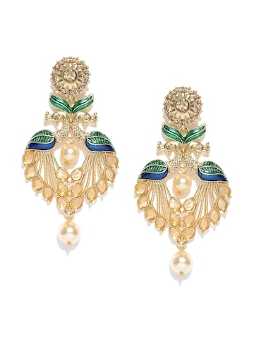 Zaveri Pearls Green Gold-Plated Peacock-Shaped Drop Earrings at myntra