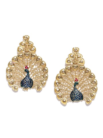 Zaveri Pearls Blue Gold-Plated Peacock-Shaped Drop Earrings at myntra