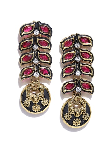 Zaveri Pearls Magenta & Black Gold-Plated Drop Earrings at myntra