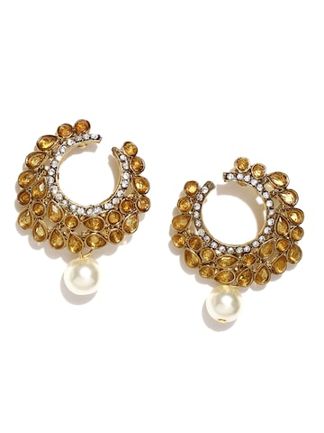 Zaveri Pearls Gold-Toned Stone-Studded Drop Earrings at myntra