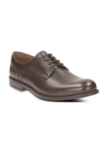Clarks Men Brown Leather Formal Shoes at myntra