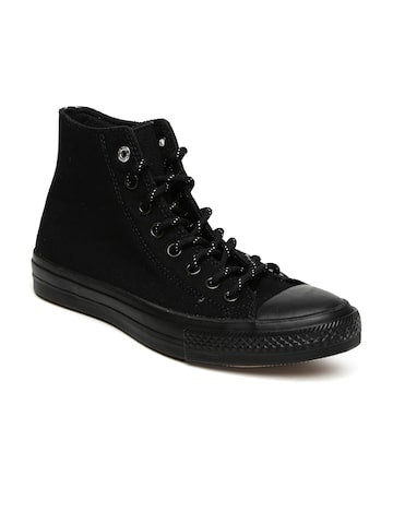 Converse Men Black Solid High-Top Sneakers at myntra